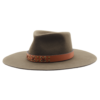Ninakuru long brim wool hat with tan leather embellished band. Pima cotton lining and leather interior band.