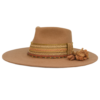 Ninakuru long brim wool hat with grosgrain ribbon, zig zag stitch and dark leather band. Beaded band with wool tassel and gold. Leather interior band.