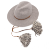 Ninakuru long brim wool hat with leather lace stampede strap and wool pom-pom. Cotton interior band.