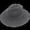 Ninakuru long brim wool hat with black leather braided band. Cotton interior band.