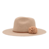 Ninakuru long brim wool hat with dark leather band and wool pom-pom. Cotton interior band.
