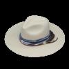 Ninakuru long brim Panama hat with lace weave, frayed cotton wrap and jute. Cotton interior band.