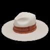 Ninakuru long brim Panama hat with grosgrain ribbon, zig zag stitch, leather lace with beads. Cotton interior band.