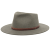 Ninakuru long brim wool hat with double leather lace band. Pima cotton lining. Leather interior band.