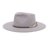 Ninakuru long brim wool hat with dark brown leather band, jute and feather. Pima cotton lining. Leather interior band.