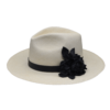 Ninakuru long brim Panama hat with leather band, handmade detachable leather flower. Cotton interior band.