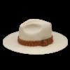 Ninakuru long brim Panama hat with tan leather hand woven braided band and buckle. Cotton interior band.