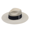 Ninakuru long brim Panama hat with grosgrain ribbon and zig-zag stitch loop. Cotton interior band.