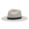 Ninakuru long brim Panama hat with grosgrain ribbon, X loop. Cotton interior band.