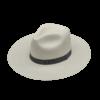 Ninakuru long brim Panama hat with grosgrain ribbon and double X loop. Cotton interior band.