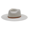 Ninakuru long brim Panama hat with tan leather band and brass eyelets. Cotton interior band.