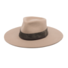 Ninakuru long brim wool hat with suede band, leather lace band and parallel stitch. Leather interior band.