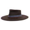 Ninakuru long brim wool hat with suede band and rivets, leather band with eyelets. Leather interior band.