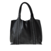 Ninakuru leather tote, black, supple genuine leather, double sided snake braids. Unlined. Interior leather pockets.