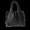 Ninakuru leather tote, black, supple genuine leather, double sided snake braids. Unlined. Interior leather pockets.