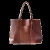 Ninakuru leather tote, tan, supple genuine leather, braided shoulder strap with exterior pocket. Interior leather pockets with removable leather pom-pom