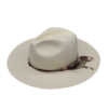 Ninakuru long brim Panama hat with leather lace and jute band with brass beads and feather. Cotton interior band