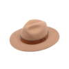Ninakuru long brim wool hat with leather embellished band. Cotton interior band.