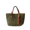 Ninakuru cabuya mini tote, crochet cabuya straw. Leather strap with removable tassel, cotton canvas lining, interior leather pocket.