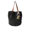 Ninakuru cabuya tote, crochet cabuya straw. Leather strap with removable cotton pom-pom. Cotton canvas lining, interior leather pocket.