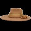 Ninakuru long brim wool hat with grosgrain ribbon, zig zag stitch and leather band. Beaded band with wool tassel and gold. Leather interior band.
