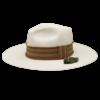 Ninakuru long brim Panama hat with grosgrain ribbon zig zag stitch and leather band. Cotton interior band.