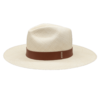 Ninakuru long brim Panama hat with leather band and parallel stitch. Cotton interior band.