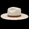 Ninakuru long brim Panama hat with leather band and brass rivet. Cotton interior band.