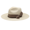 Ninakuru long brim Panama hat with grosgrain ribbon and bow with leather lace band. Cotton interior band.
