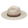 Ninakuru long brim Panama hat with grosgrain ribbon and leather lace band. Cotton interior band.