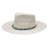 Ninakuru long brim Panama hat with turquoise and leather band-Cotton interior band