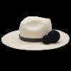 Ninakuru long brim Panama hat with leather band and double pom pom. Cotton interior band.