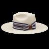 Ninakuru long brim Panama hat with vintage grosgrain ribbon and leather loop. Cotton interior band.