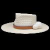 Ninakuru long brim Panama hat with artisanal crown, grosgrain ribbon, leather band and double pom pom. Cotton interior band.