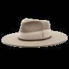Ninakuru long brim wool hat with grosgrain ribbon and linen wrap. Leather interior band.