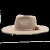 Ninakuru long brim wool hat with braided fiber band, leather tassel. Leather interior band.