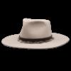 Ninakuru long brim wool hat with leather band, wool yarn. Leather interior band.