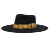 Ninakuru long brim wool hat with jacquard ribbon. Leather interior band.