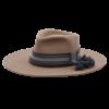 Ninakuru long brim wool hat with grosgrain ribbon, zig zag stitch, leather band with wool tassel & gold. Leather interior band.