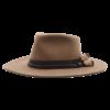 Ninakuru long brim wool hat with grosgrain ribbon leather band, horsehair tassels. Leather interior band.