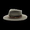 Ninakuru medium brim wool hat with leather band, velvet ribbon. Leather interior band.