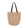 Ninakuru agave tote, crochet agave straw. Leather strap. Cotton canvas lining, interior leather pocket.