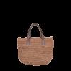 Ninakuru cabuya mini tote, crochet cabuya straw. Leather strap, cotton canvas lining, interior leather pocket.