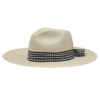 Ninakuru long brim Panama hat with gingham grosgrain ribbon. Cotton interior band.