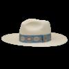 Ninakuru long brim Panama hat with vintage brocade ribbon. Cotton interior band.