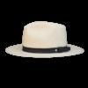 Ninakuru long brim Panama hat with leather band and silver rivet. Cotton interior band.