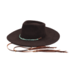 Ninakuru long brim wool hat with leather band, turquoise and stampede strap. Leather interior band.