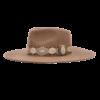 Ninakuru long brim wool hat with vingage brocade ribbon. Leather interior band.