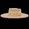 Ninakuru long brim wool hat with vintage brocade ribbon. Leather interior band.