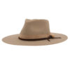 Ninakuru wool hat with suede and leather band with rose.